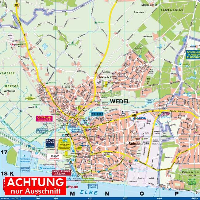 wedel hamburg karte Wedel und Haseldorf, 1:25.000 Stadtplan und Amtsplan ***Unikat